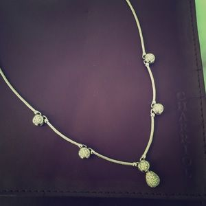 Charriol diamond white gold steel cable necklace